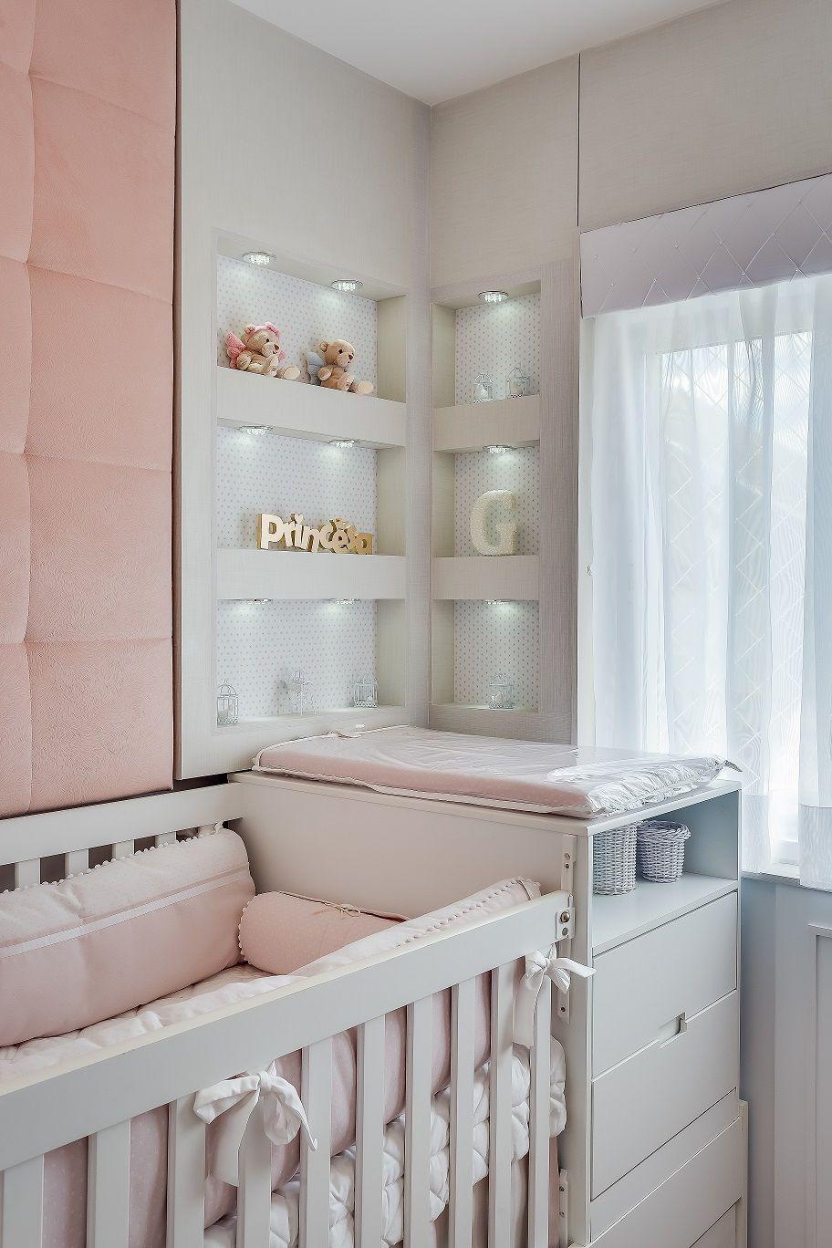 Quarto de beb paleta cinza rosa e branco realizando for Dekor wohnungen