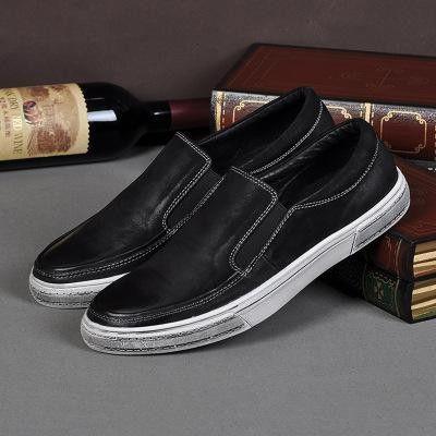 real leather men casual walking shoes men's vintage