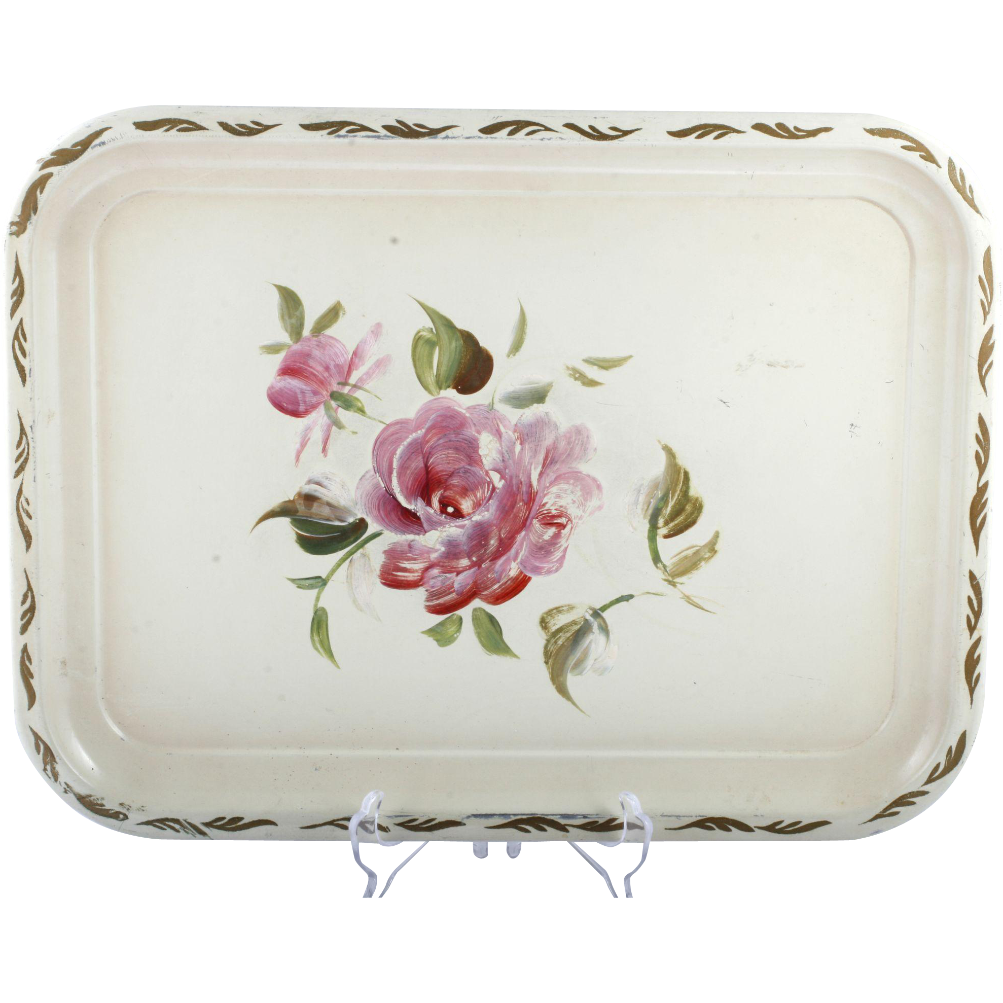 Tin tray pink rose nashco new york vintage gold trim metal hand