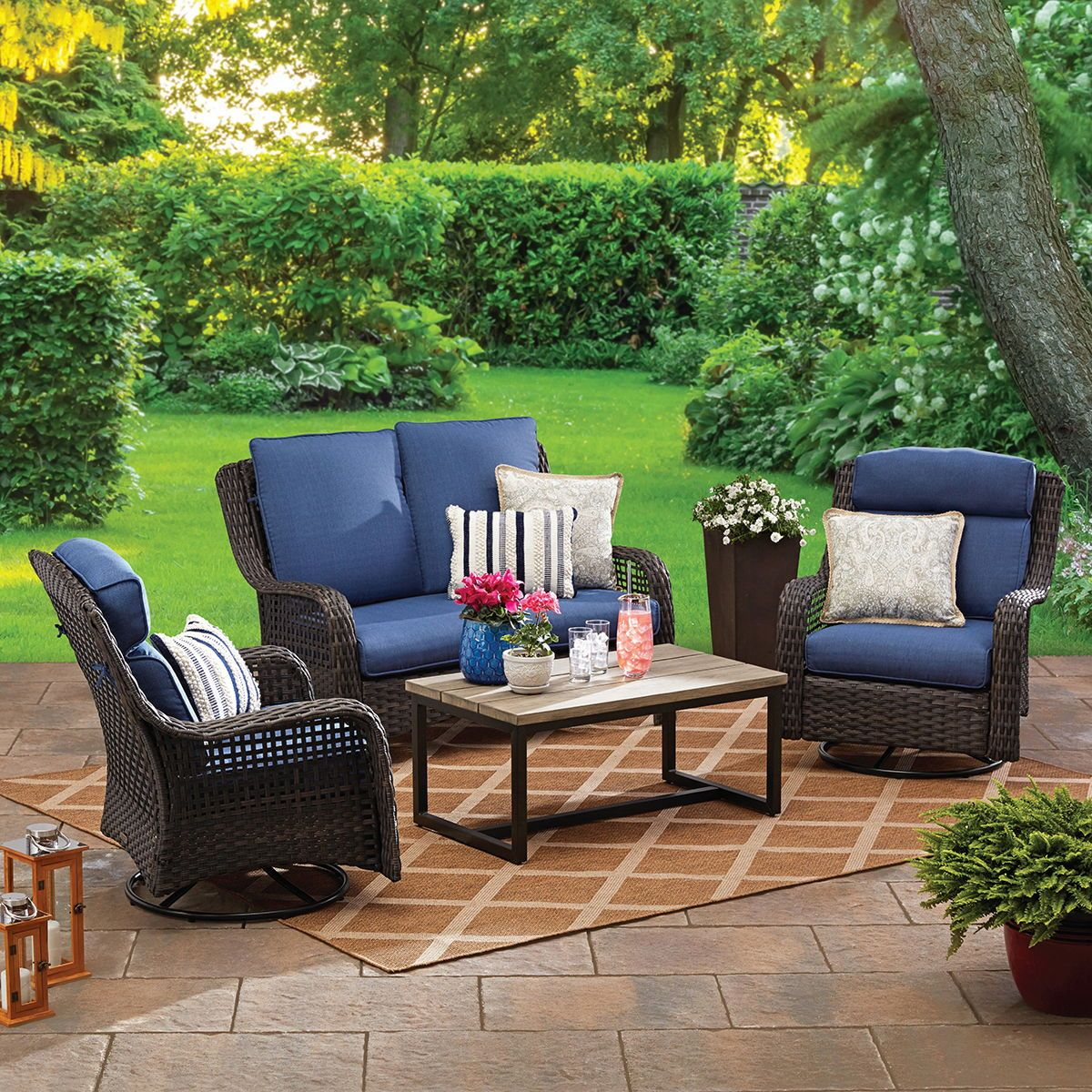 Better Homes Gardens Ravenbrooke 4 Piece Patio Furniture Conversation Set Wicker With Swivel Chairs Walmart Com Backyard Furniture Patio Furniture Conversation Sets Conversation Set Patio