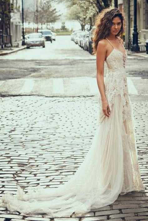 schönes boho brautkleid spitze und tüll lang | wedding | Pinterest ...