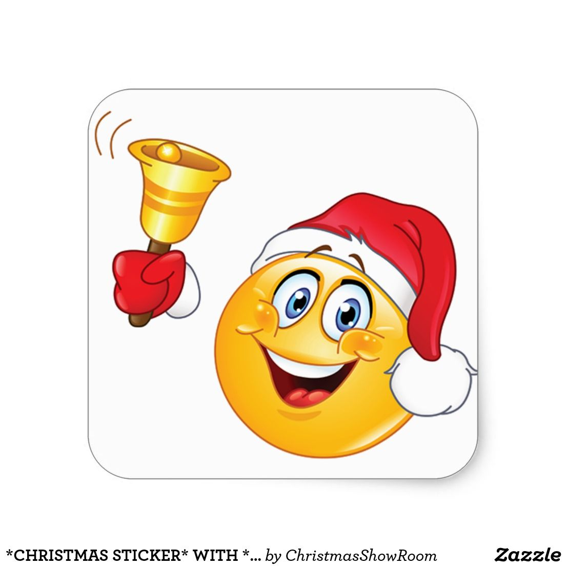 Christmas sticker with imogi santa claus square sticker emoji stickers