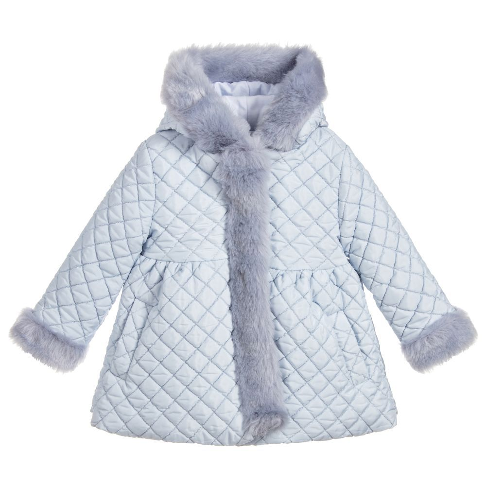 2b872a772fad9 Girls Blue Quilted Coat for Girl by Patachou. Discover more beautiful  designer Coats   Jackets for kids online