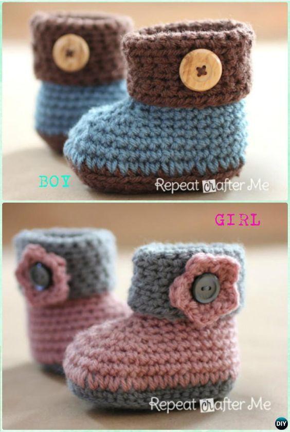 DIY Crochet Cuffed Baby Booties Pattern-Crochet Ankle High Baby ...