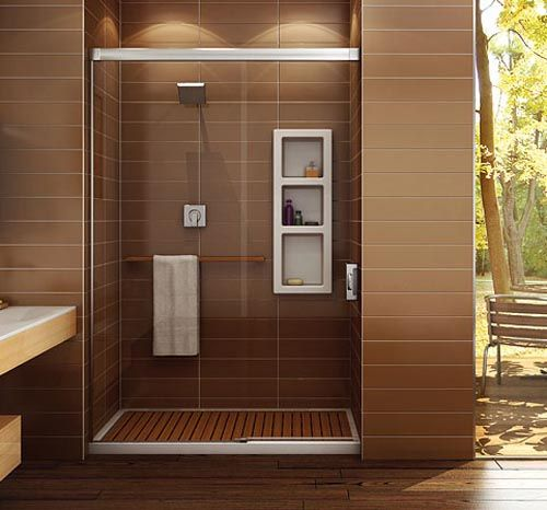 I Like How The Inserted Wood Slats Over A Prefab Shower Floor