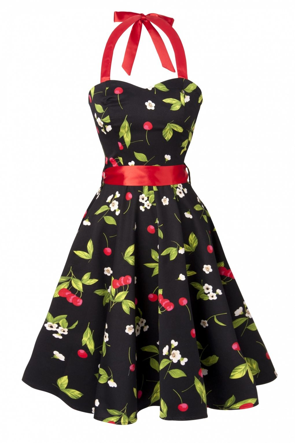 Hearts   Roses - 50s Black Cherry Blossom swing halter dress 18c683d0ef13