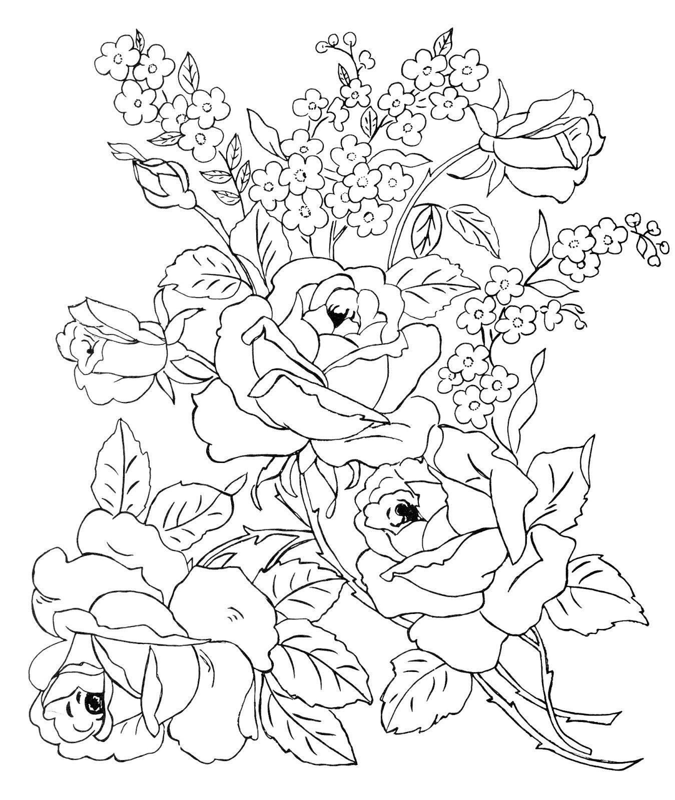 Hermoso Imagenes Para Colorear Ramos De Flores | Colore Ar La Imagen
