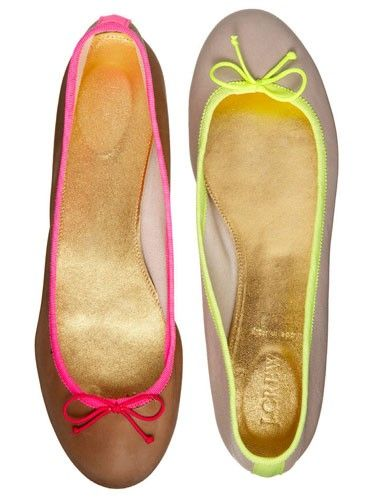 I have J. Crew's ballet flats in black and I wear them everywhere. These neon-accented ones will be great for spring.
