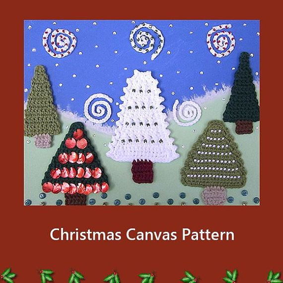 Painted Canvas And Crochet Christmas Trees by HandandHookCrochet