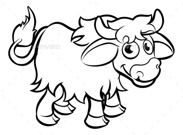 Yak Cartoon Character Graphic Design Character Design Character Outline