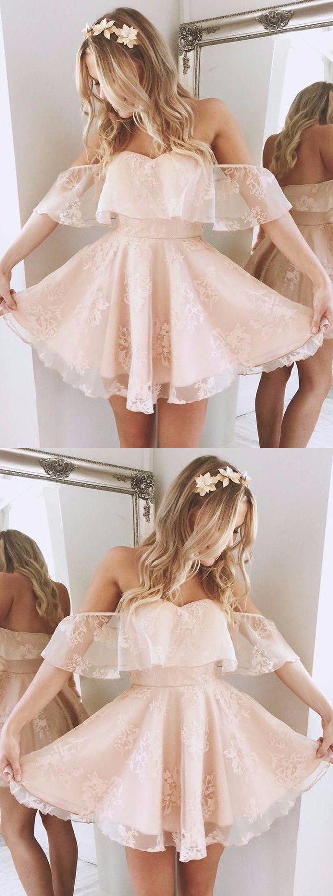 A-Linie Off-die-Schulter Kurz Perle Rosa Spitze Abiballkleid mit Rüschen #rosaspitzenkleider