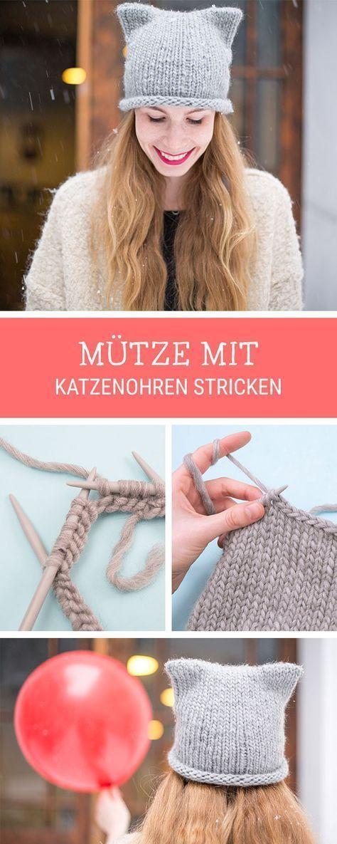 Strickanleitung: Süße Katzenmütze mit Ohren stricken / knitting ...