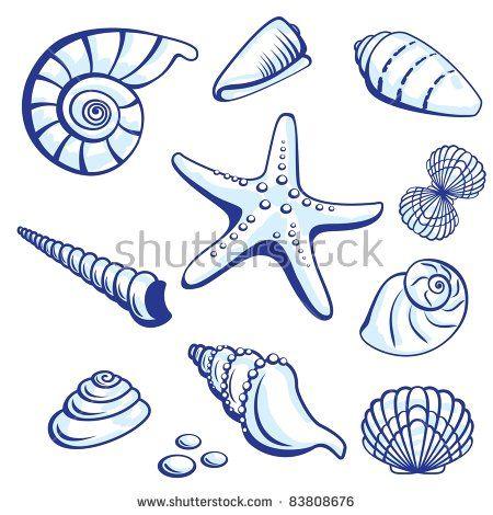 Raster version. Sea Set From Starfishes and Cockleshells.  illustration on white background. #steinebemalenvorlagen