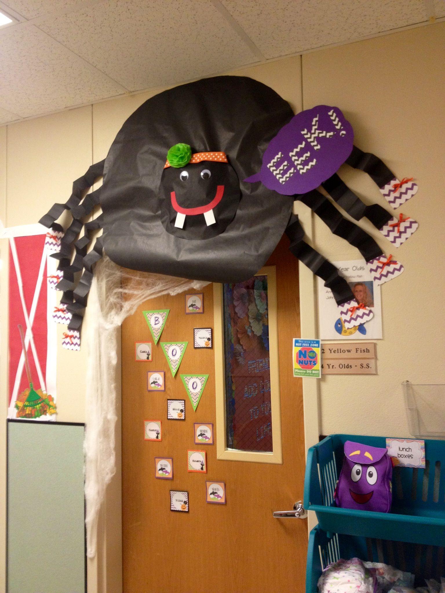 Halloween classroom door decorations - Halloween Spider Classroom Door