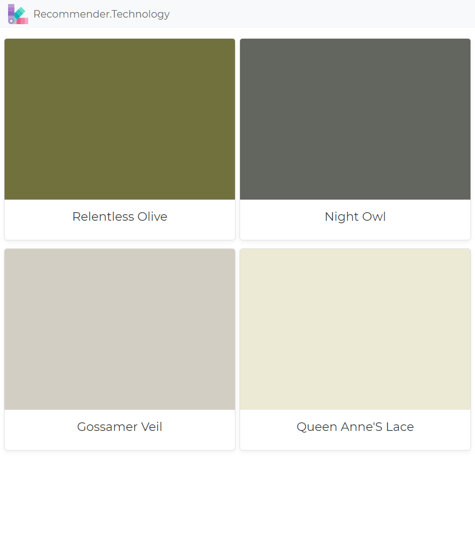 Relentless Olive Night Owl Gossamer Veil Queen Anne S Lace House Paint Exterior Exterior House Color Exterior House Colors
