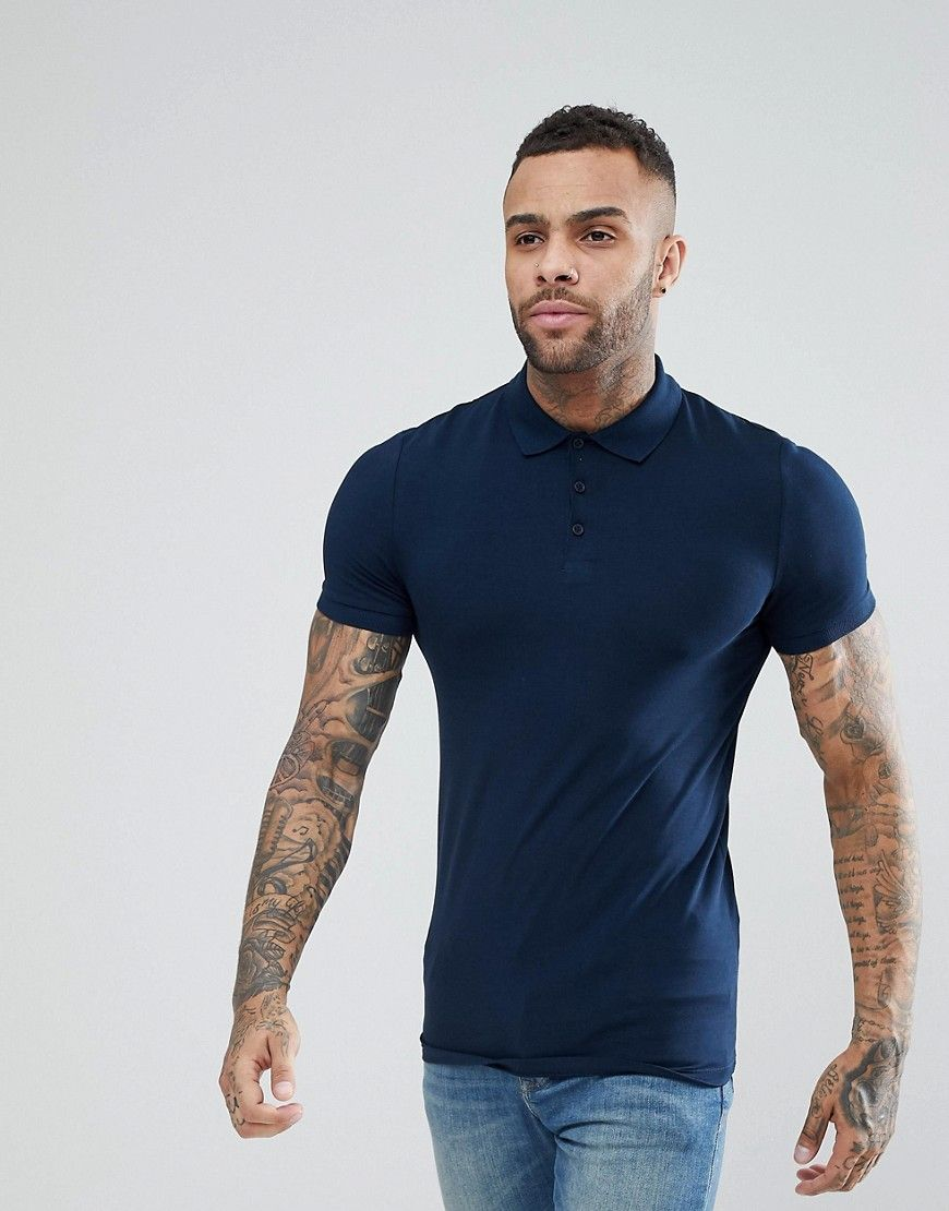 ASOS Muscle Fit Jersey Polo In Navy - Navy #musclefitness
