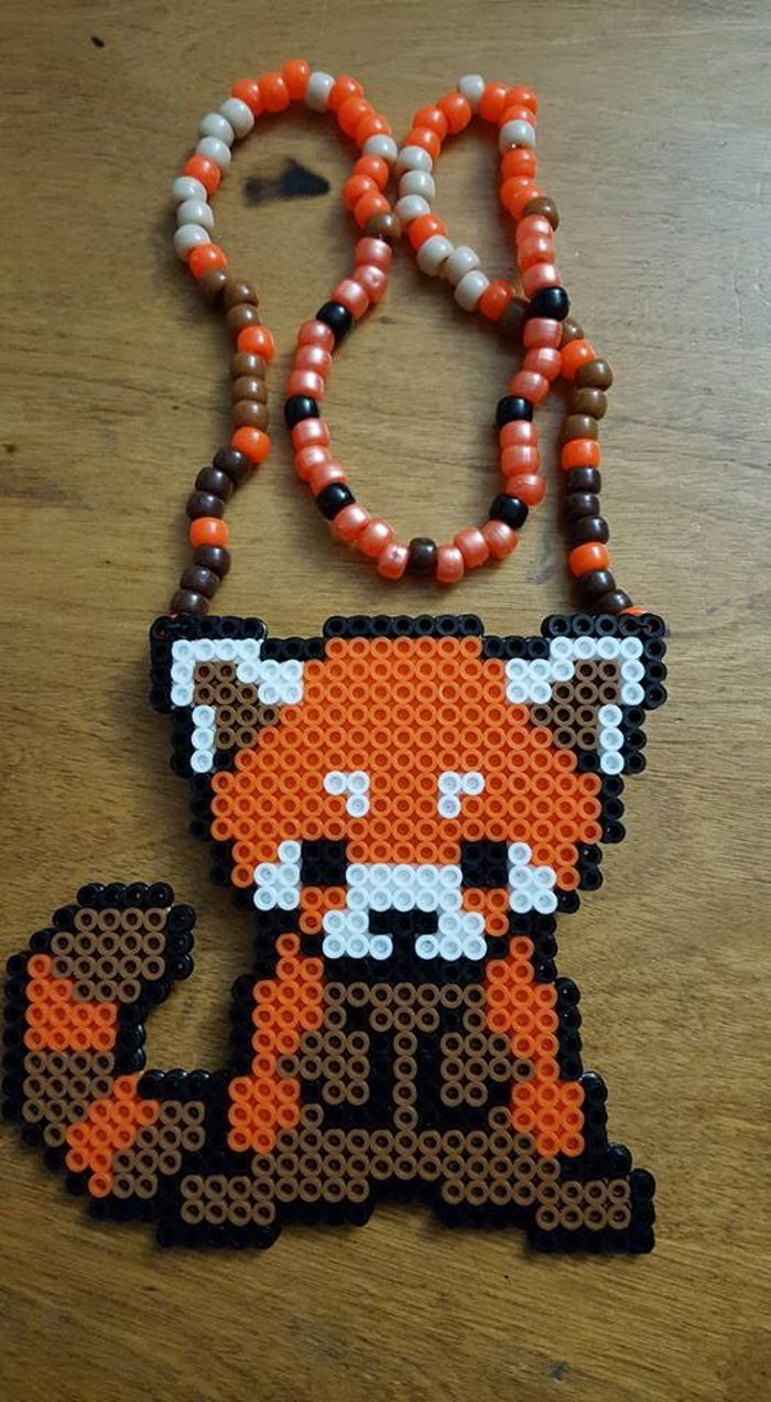 Red Panda perler necklace by LadyRaveicorn - Kandi Photos on