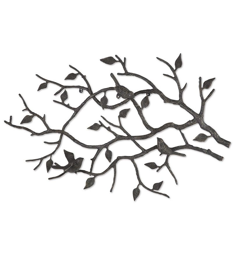 Black Wrought Iron Wall Decor three little birds on branch art |  bird branch wall art 87284