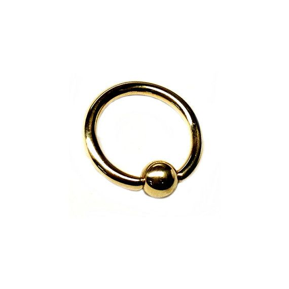 14K Solid Gold Captive Bead Ring CBR Ball Closure Ring Small Ear