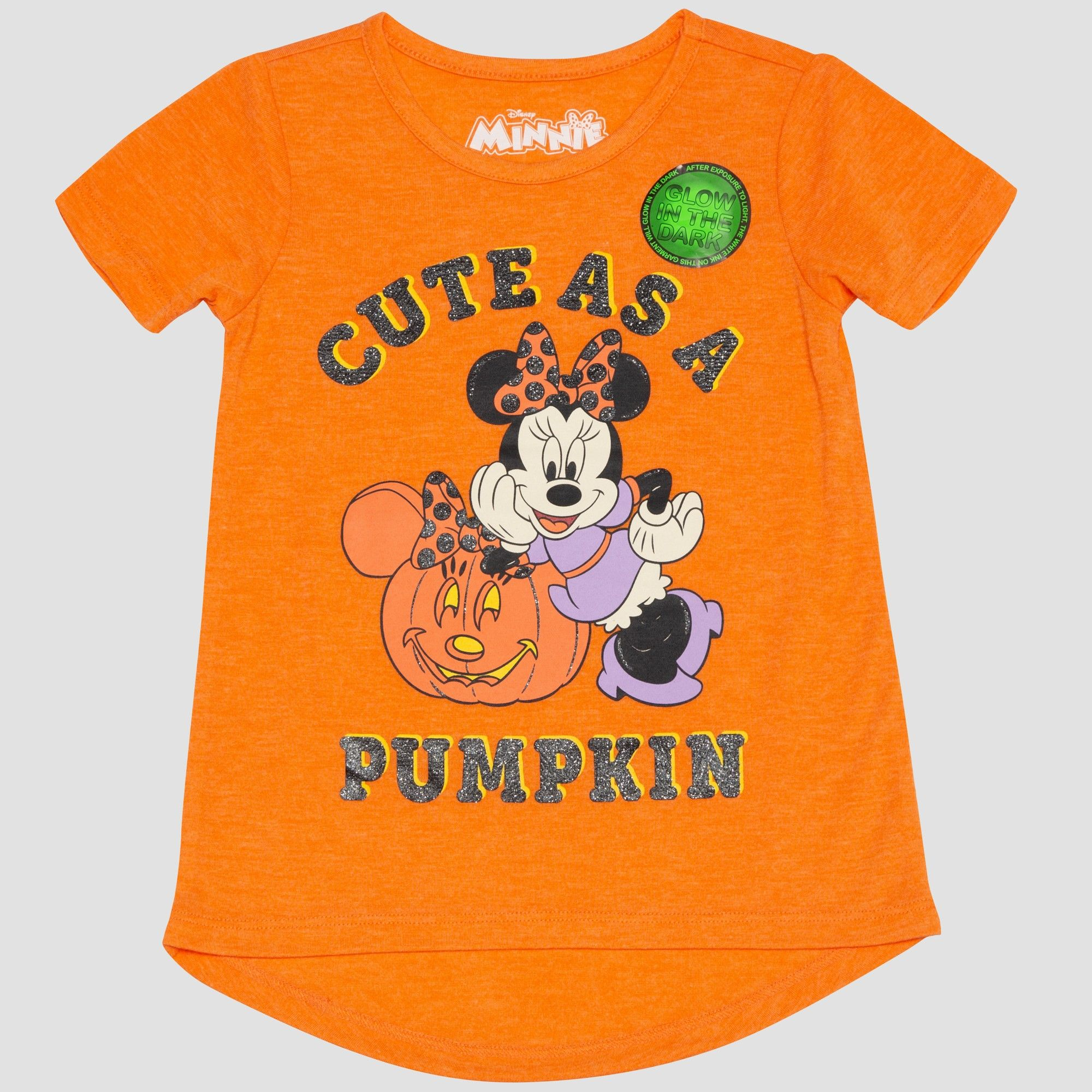 6212f0471 Toddler Girls' Mickey Mouse & Friends Minnie Mouse Short Sleeve T-Shirt -  Orange 12M