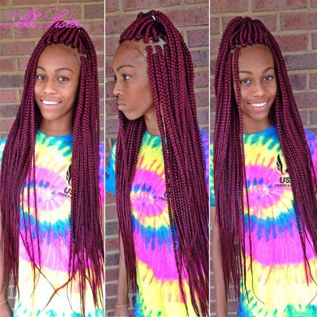 Long Burgundy Braiding Hair Box Braids Crochet Braids Hair