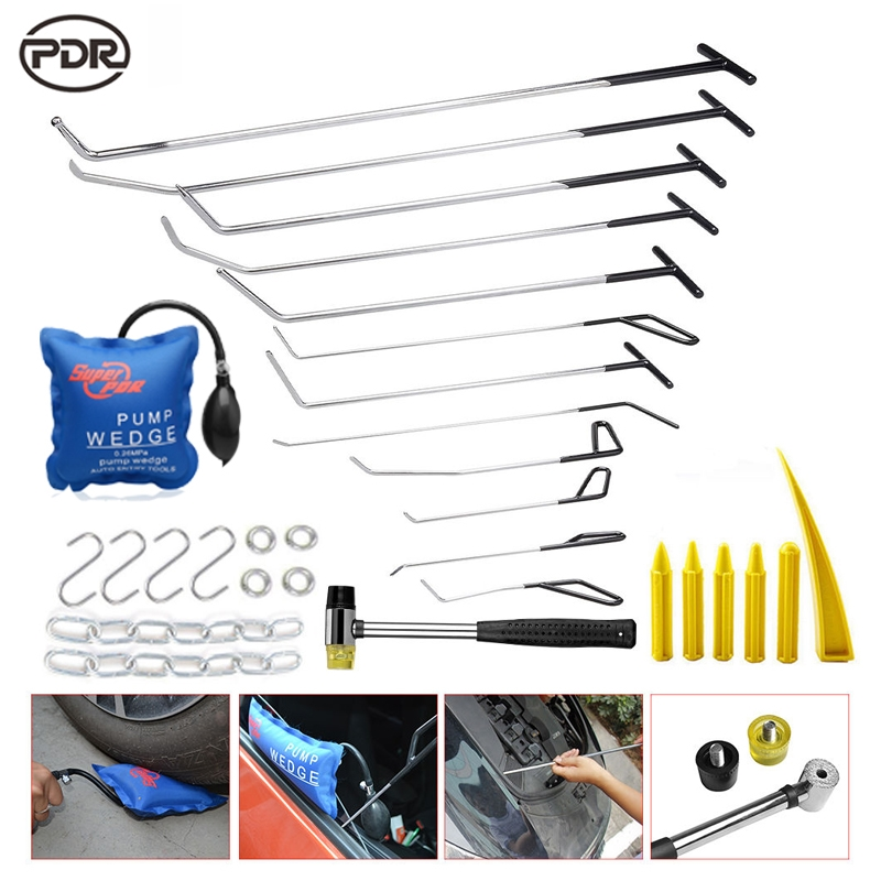 149.77$  Buy here  - PDR Tools Kit PDR Hooks Push Rods Stainless Steel Hooks Dent Removal Paintless Dent Repair Hail Damage Repair Tools Set