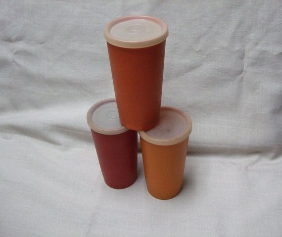 Tupperware Tumbler Trio with Lids in Harvest Colors by trudysattic
