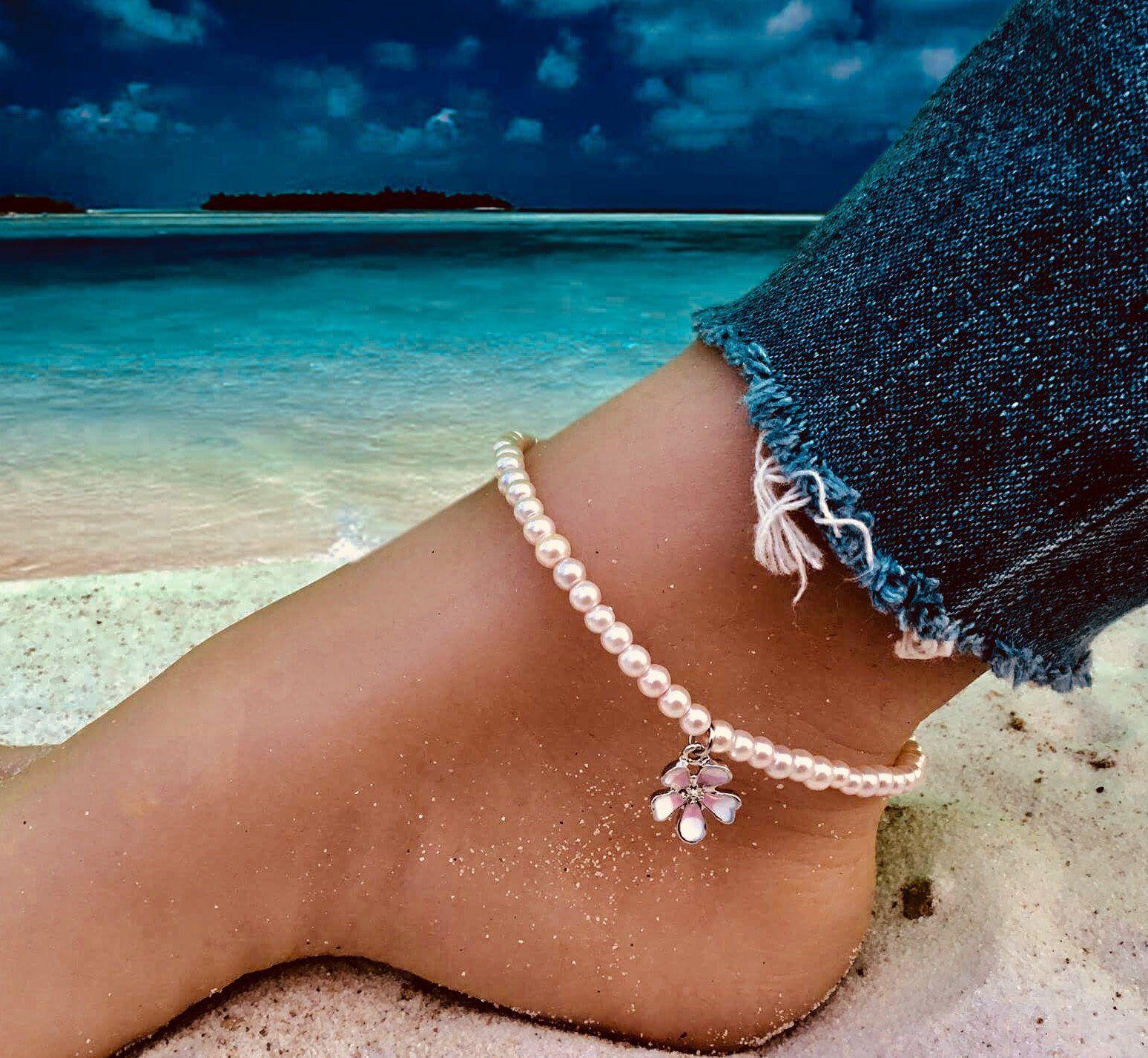 FLEUR DE MAGNOLIA,bracelet de cheville,perle rose,,,,la ...