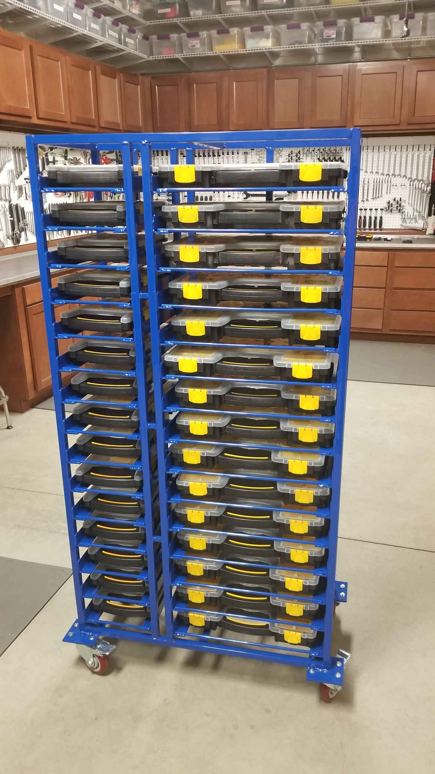 slide in storage with bins from Harbor Freight in 2020