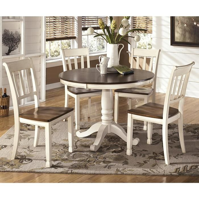 Whitesburg 5 Piece Dining Set In Brown And Cottage White