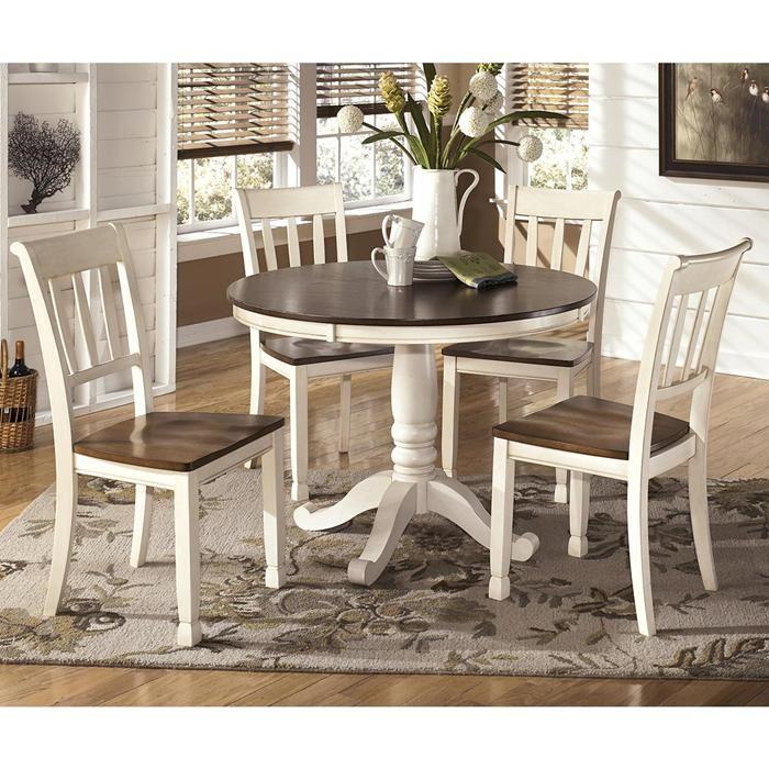 Whitesburg 5 Piece Dining Set In Brown And Cottage White Comedor De Lujo Comedor Minimalista Decoracion De Comedor #nebraska #furniture #living #room #sets