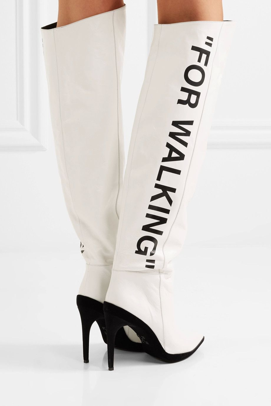 Off-White - For Walking printed leather over-the-knee boots