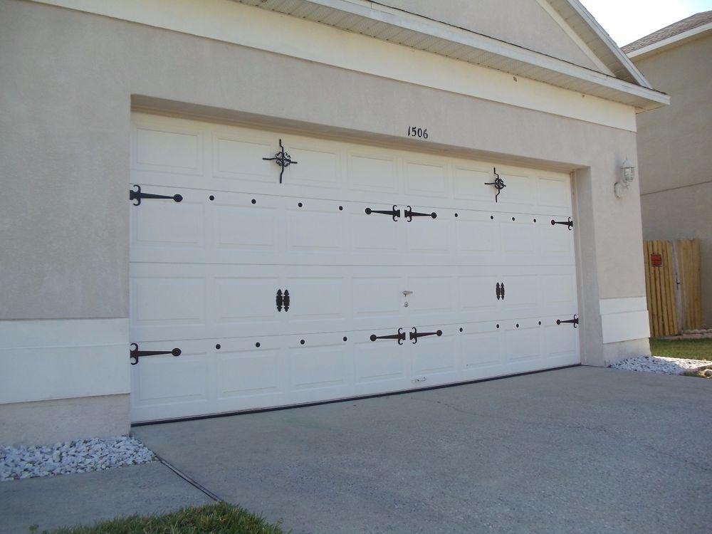 Magnetic Garage Door Decorative Hardware Kit2 Hinges Black Grate
