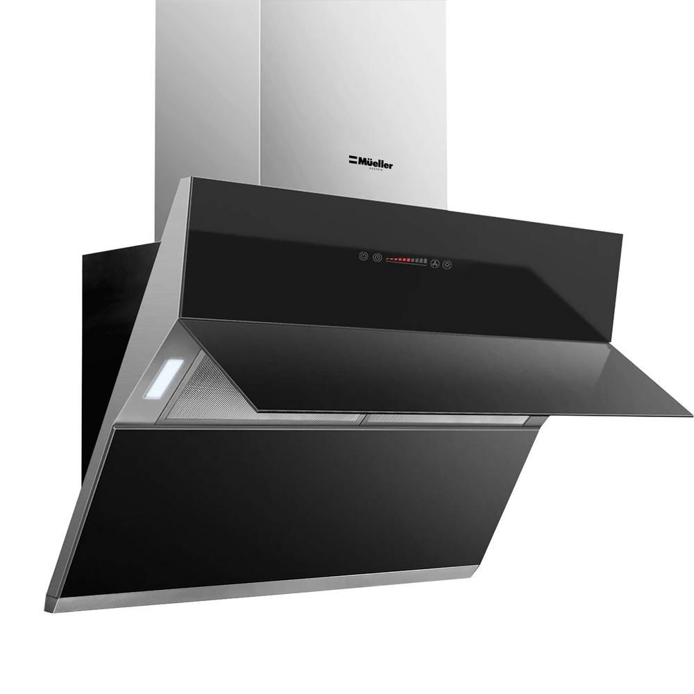 Mueller Austria Mueller Deluxe 36 In High Air Flow Wall Mount Oven Range Hood In Satin And Black Tempered Glass Led Touch Control Mu Orh The Home Depot In 2020 Wall Mount