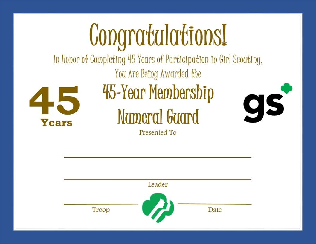 Girl Scout Year Membership Certificate  Girl Scouts