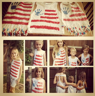 Awesome handprint flag t-shirts and other great patriotic crafts for the fourth. #patriotsdaycraftsforkids