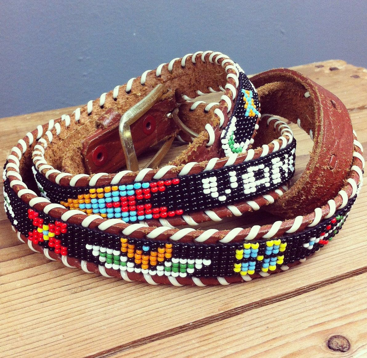 Vancouver [Canada beaded leather belt]