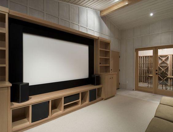 Decoração de Home Theaters em Ambientes (50 Fotos para inspirar - leinwand für wohnzimmer