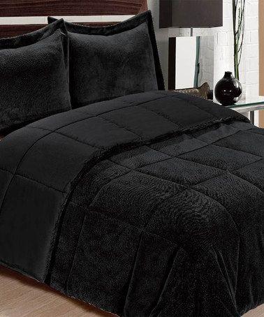 Loving This Black Plush Comforter Set On Zulily Zulilyfinds
