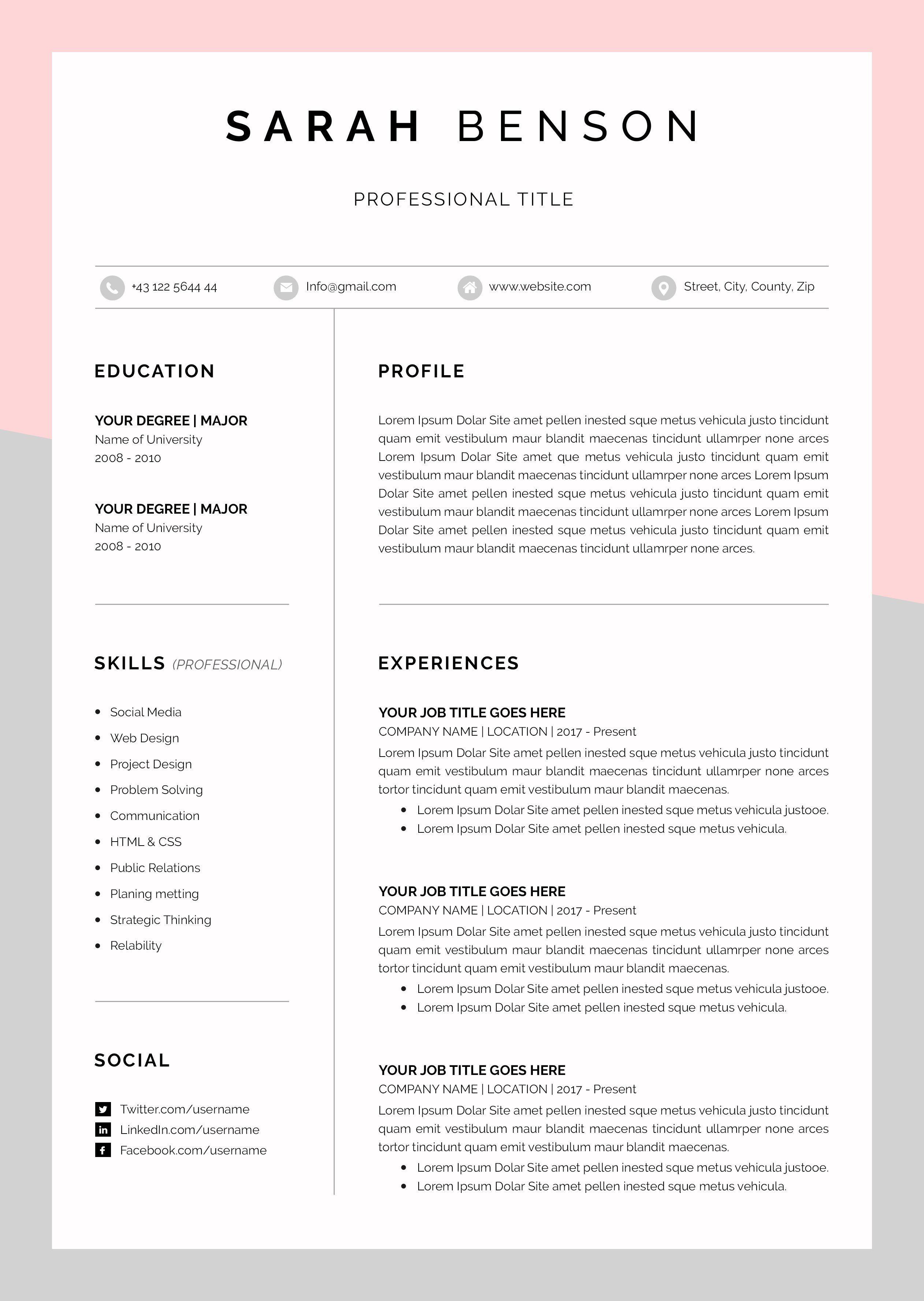 Cv Template Sur Etsy La Plateforme De Vente Internationale Du Fait Main Et Du Vintage Cv Template Cover Letter For Resume Resume Design