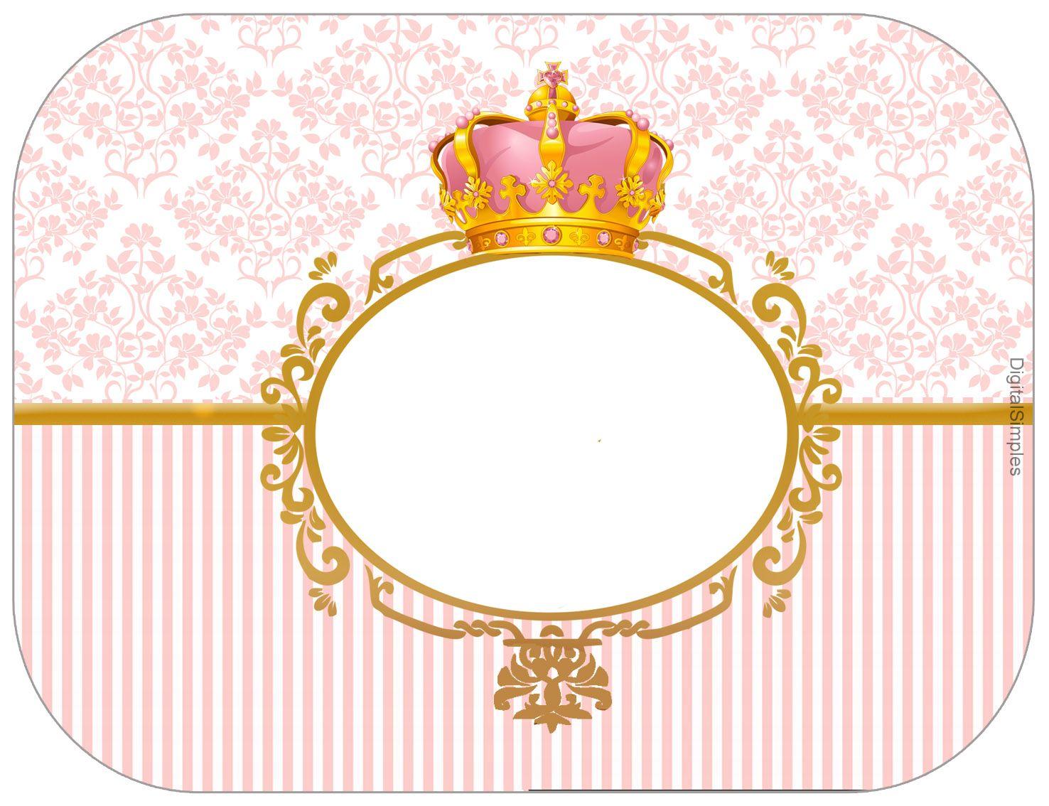 """Adesivo De Chão Personalizado Sp ~ Kit Personalizado Tema""""Coroa Rosa Menina"""" para Imprimir Convites Digitais Simples Mm"""