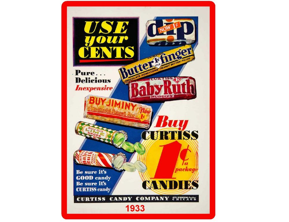 1933 Vintage Curtis  Candy  Refrigerator  Magnet  Advertising