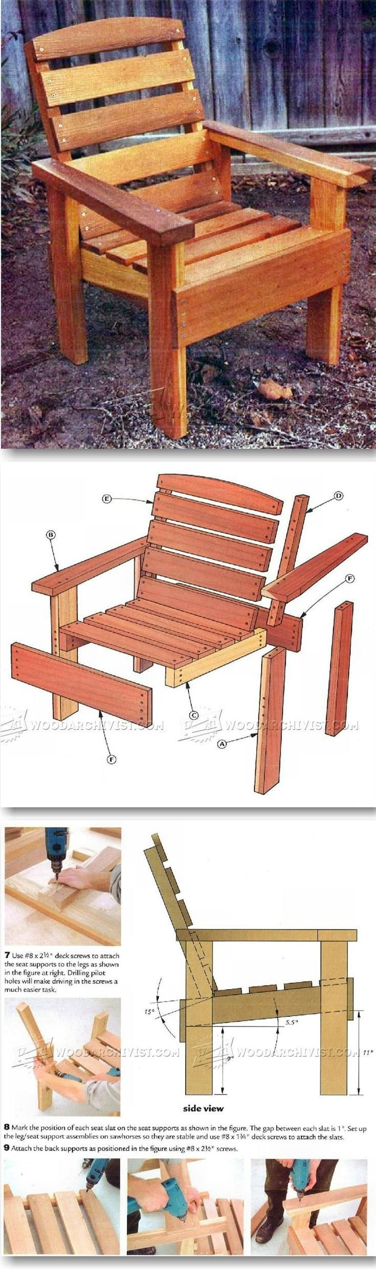 Outdoor furniture plans - Deck Chair Plans Outdoor Furniture Plans Projects Woodarchivist Com