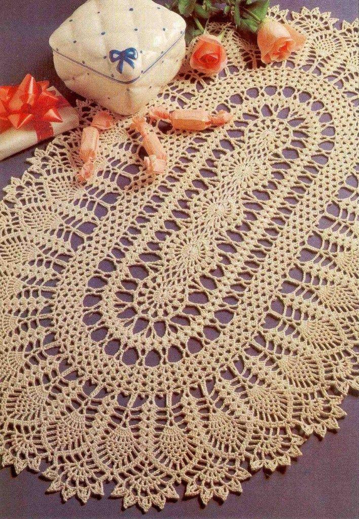 Oval crochet doily | Ananas muster | Pinterest | Häkeldeckchen ...