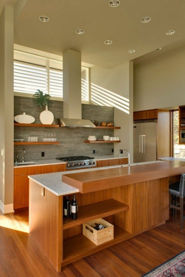 moderne Küche holzfronten kochinsel grauer fliesenspiegel | Küche ...
