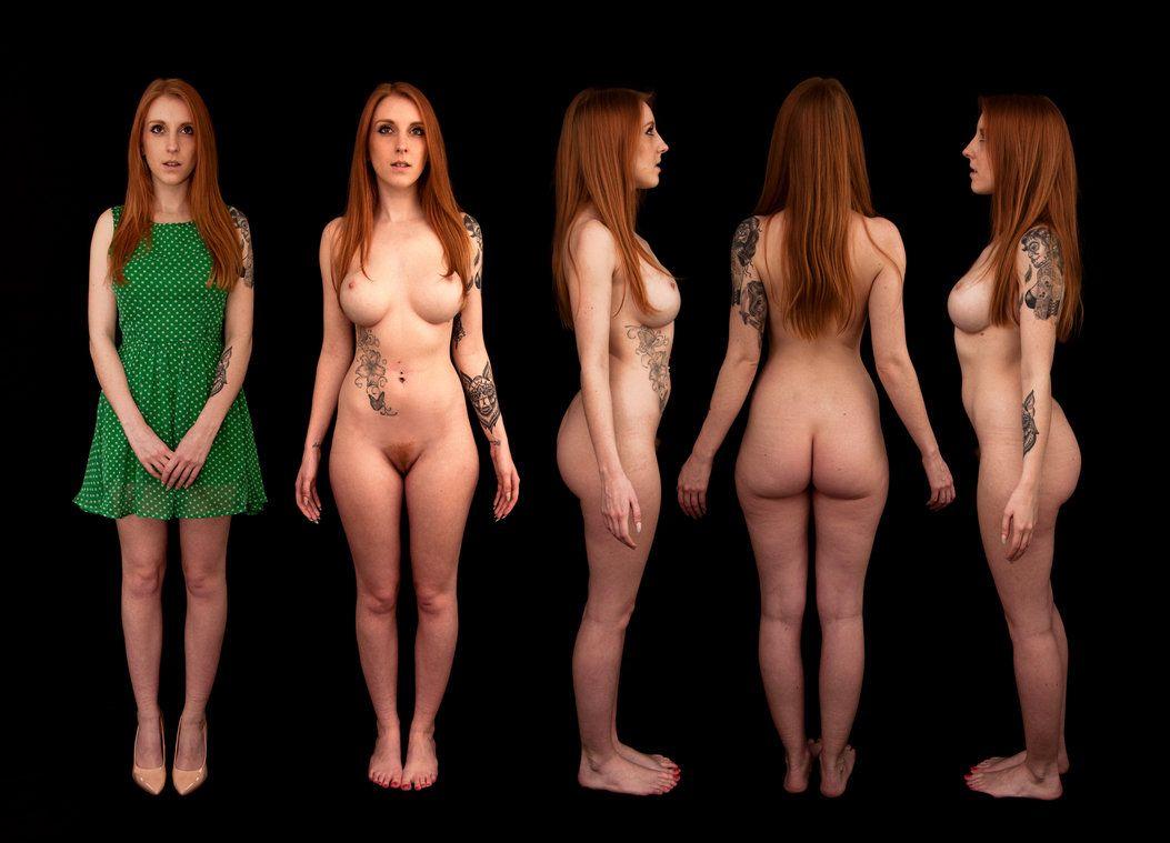 Nude female nude anatomy triple