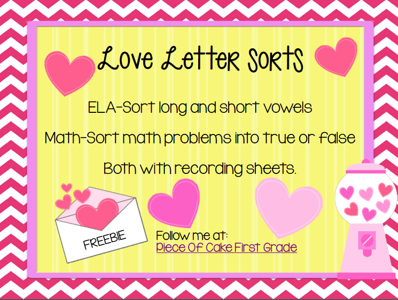 FREE Valentines Day Center Activities Short  Long Vowels and