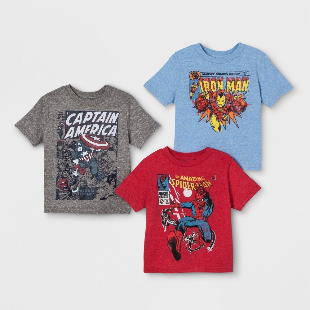 7977e40e Capture your little guy's favorite Marvel superheroes in his wardrobe with  the 3-Pack Short Sleeve T-Shirts from Marvel. This Marvel T-shirt pack  includes ...