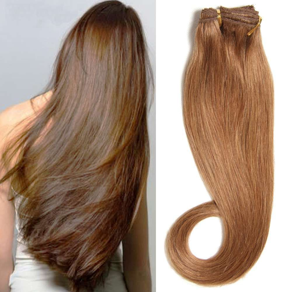 100 Natural Clip In Human Remy Hair Extensions Full Head 16 Clips