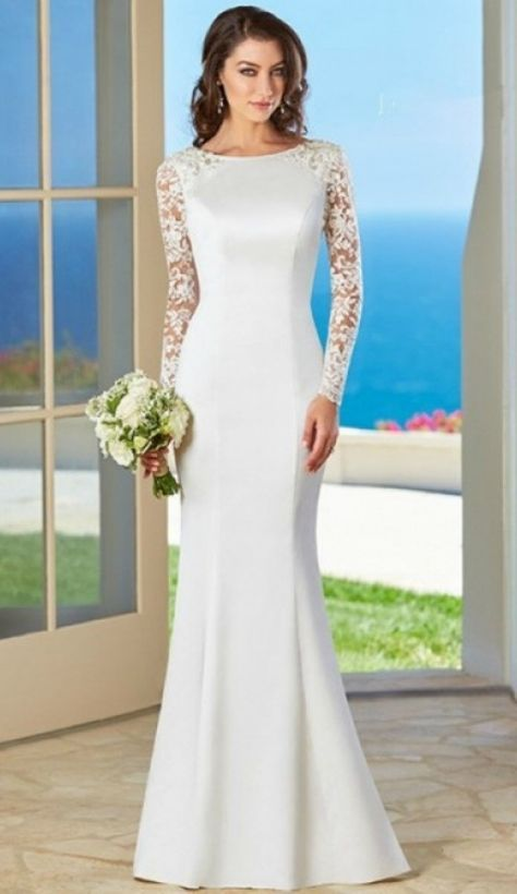 Simple elegant long sleeves wedding dress for older brides for Wedding dresses for 60 year olds